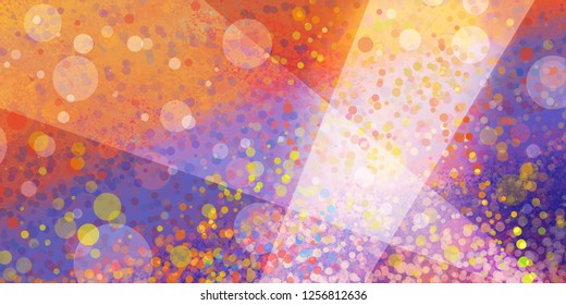 Abstract background in purple and orange colors with white diagonal stripes in spotlight angles layered with colorful bokeh lights or circles, fun party background design