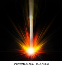 Abstract Background - rays of colorful light with big bombs.