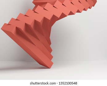 Abstract background with red parametric installation over white wall, 3d render illustration