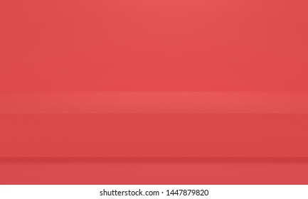 Abstract background with red platform. Minimalist backdrop design for product promotion. 3d rendering