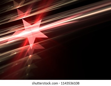 Abstract background of red stars and design shapes with depth of field. 3d illustration