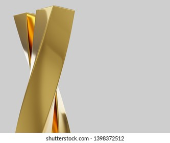 abstract background with reflection smooth wavy gold lines 3d illustration
