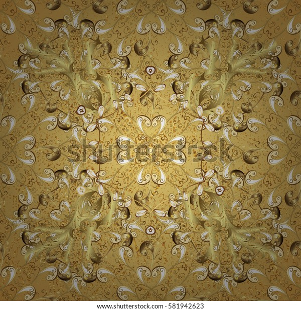 Abstract background with repeating elements. Yellow on background. Oriental classic golden pattern.
