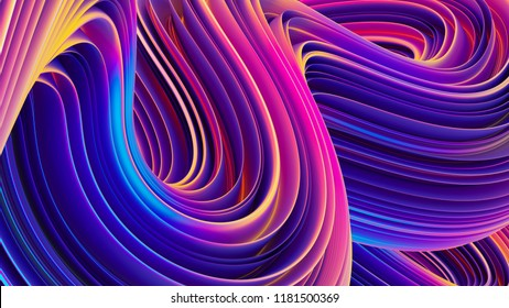 Abstract background of rippled holographic wavy lines. Poster liquid backdrop. Abstract colorful waves. Fluid twisted shapes. 3D rendering.