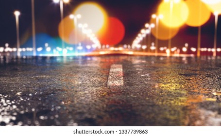 Abstract background road and asphalt.3d illustration.Street cement and concrete floor and lights.Urban cityscape.Puddles on the ground