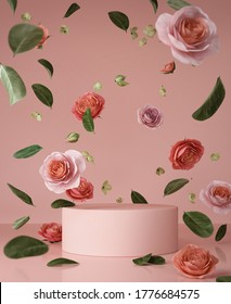 Abstract background Scene for cosmetic Product and Package Presentation,Vintage flower falling on Podium Display, 3d rendering.