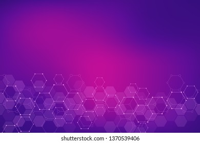 Abstract background of science and innovation technology. Technical background with hexagons pattern and molecular structures