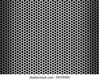 Abstract background of a shiny stainless steel metallic grid with repetitive rows of punched circular holes