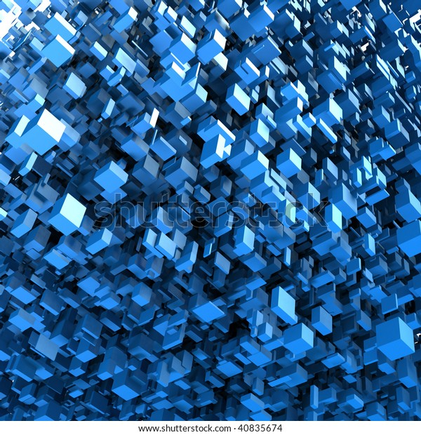 Abstract background showing a blue claster of 3D blocks