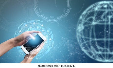 Abstract background smartphone internet technology development business blockchain. Online digital innovation success connect banking, financial transaction. Elements of this image furnished by NASA