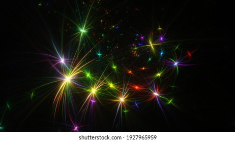 Abstract background, smooth multicolored lines on a black background. Design element. Soft lines. 3d rendering.