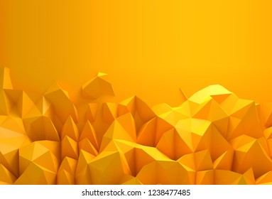 Abstract background with space for text. Bright yellow chaotic polygons, 3d render