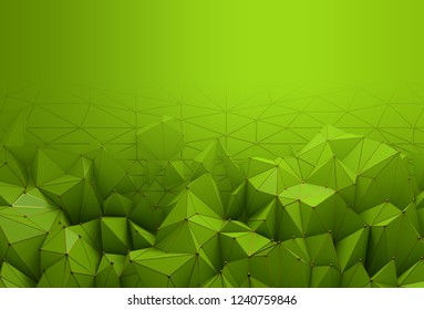 Abstract background with space for text. Bright green chaotic polygons with golden grid and spheres, 3d render or rendering