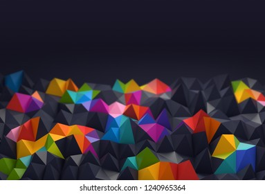 Abstract background with space for text. multicolored chaotic polygons, 3d render or rendering