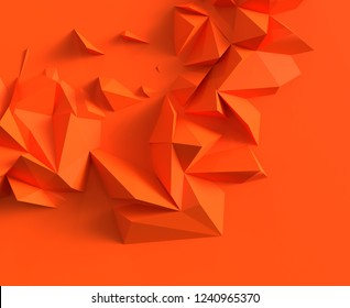 Abstract background with space for text. orange chaotic polygons, 3d render or rendering