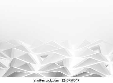Abstract background with space for text. white chaotic polygons, 3d render or rendering