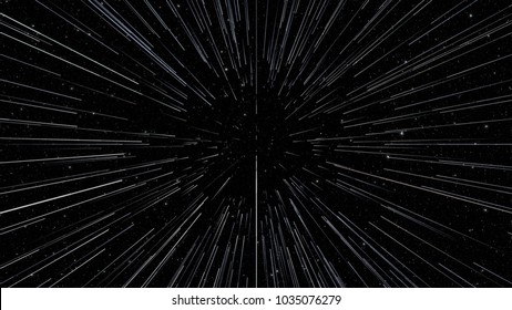 Abstract background with Star Warp or Hyperspace with free space in the center, light of moving stars concept. 3d render.