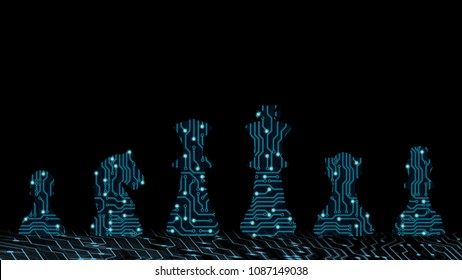 Abstract background of strategy innovation planning. Plan for future business competition using blue chess set King , queen and horse to present business war game concept