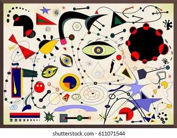 Abstract background, style Miro' French painter