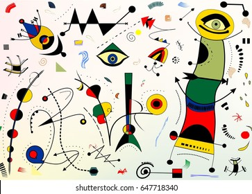 Abstract background, style Miro `French painter
