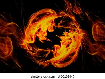 Abstract background with swirling flames