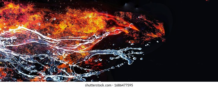 Abstract background with swirling flames and water