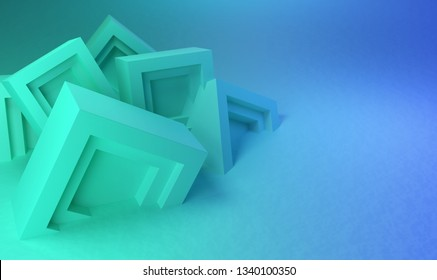 Abstract background, teal blocks in a chaotic pile, 3d render / rendering.