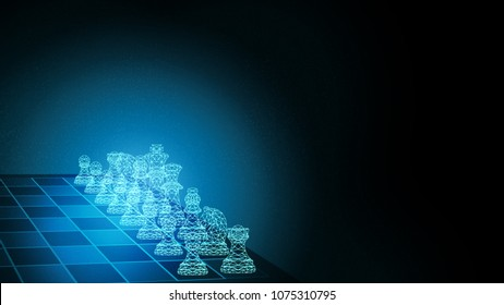 Abstract Background of teamwork. Planning futuristic innovation strategy using chess set for business concept