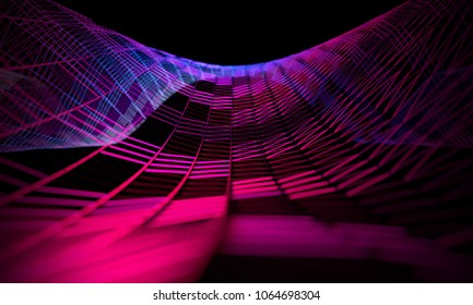 Abstract background of technology and science.Mesh or net with lines and geometrics shapes detail.3d illustration