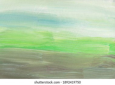 Abstract background texture. Pastel green, blue, brown, white painting. Contemporary art. Brush strokes on paper.