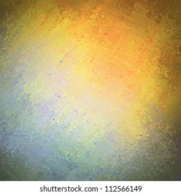 abstract background texture in warm orange colors on top and blue and teal on bottom with vintage grunge background texture in distressed shabby wall paint for brochure background or web template