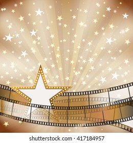 abstract background with transparent film strips and star frame with light bulbs. raster