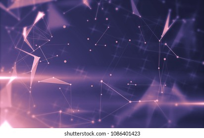 Abstract background with triangular cells for design. Bright violet digital illustration with polygons on a dark background.