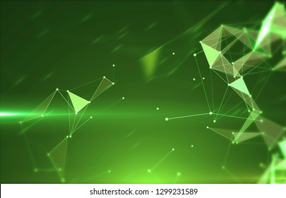 Abstract background with triangular cells for design. Bright green digital illustration with polygons on a dark background.