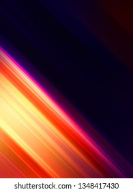 Abstract background with vibrant diagonal stripes. Concept graphic of colorful lights in dynamic motion. Glowing wallpaper illustration.