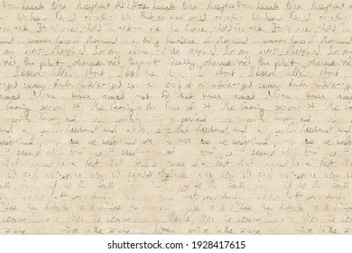 Abstract background in vintage style with old aged yellow brown paper with faded ink stains, hand written unreadable text. Grunge old fashioned retro style texture.