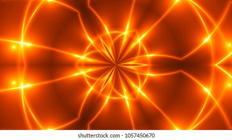 Abstract background with VJ Fractal gold kaleidoscopic. 3d rendering digital backdrop.