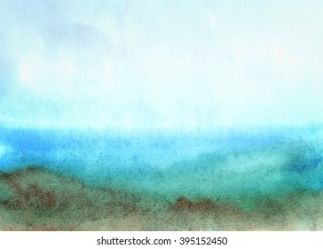 Abstract background with watercolor hand painted landscape. Textured paper.