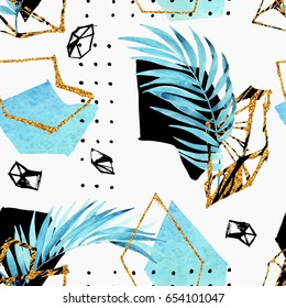 Abstract background: watercolor palm leaves, gem grid, golden geometrical shape. Glittering geometric gem in low poly style, doodle, water color tropical leaf seamless pattern. Hand drawn illustration