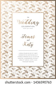 Abstract background, wedding invitation with gold floral ornament, beautiful luxury postcard, ornate page cover, ornamental vector illustration