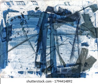Abstract background from white card coated with cyanotype chemistry over multiple uses for making cyanotype blue prints