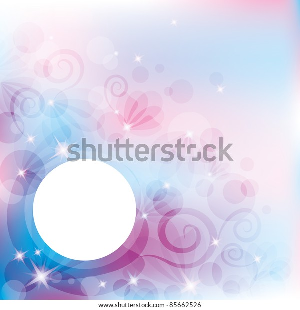 abstract background with white circle and stars