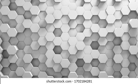 Abstract background, white geometric hexagonal wallpaper. Honeycomb hexagonal 3d render