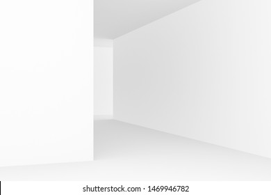 Abstract background of white interior design. 3D rendering.
