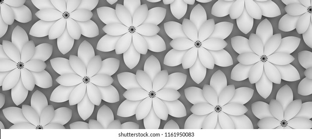 Abstract background of white paper flowers. Monochrome 3D rendering pattern.