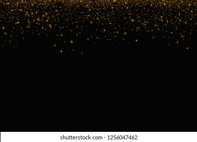 Abstract background,gold glitter on black background,Christmas and new year and holiday background