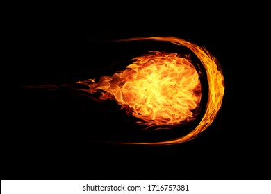 abstract ball fire flames meteor on black background
