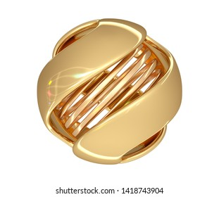 Abstract ball of gold color with a spiral in the center and color highlights on the surface. 3d illustration over white background.