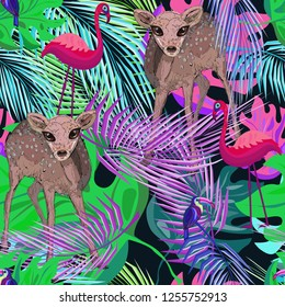abstract bambi deer, birds and tropical leaves, bright raster kids pattern,  illustration