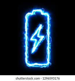 Abstract batter icon on a black background. Lightning powerful style.